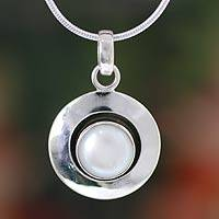 Pearl pendant necklace, 'Jaipur Magic Moon' - Pearl jewellery Necklace from India
