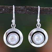 Pearl dangle earrings, 'Jaipur Magic Moon' - Artisan Pearl jewellery Earrings from India