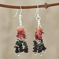 Tourmaline waterfall earrings, 'Rejoice' - Unique Combination of Tourmaline and Sterling Silver