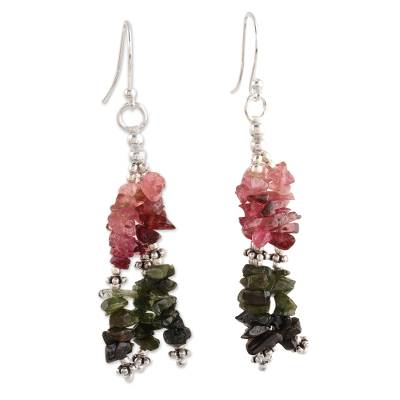 Tourmaline waterfall earrings, 'Rejoice' - Multi-color Tourmaline and Sterling Silver Artisan Jewelry