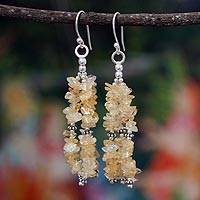 Citrine waterfall earrings, 'Rejoice' - Handcrafted Citrine and Silver Waterfall Earrings