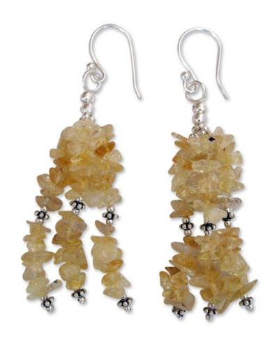 Handcrafted Citrine and Silver Waterfall Earrings