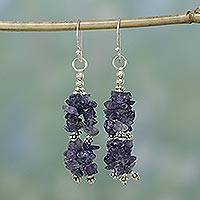 Iolite waterfall earrings, 'Rejoice' - Iolite Artisan Crafted Earrings from India