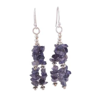 Iolite Artisan Crafted Earrings from India