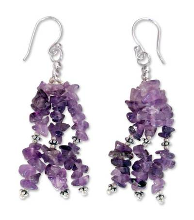 Indian Amethyst Earrings Hand Made with Sterling Silver