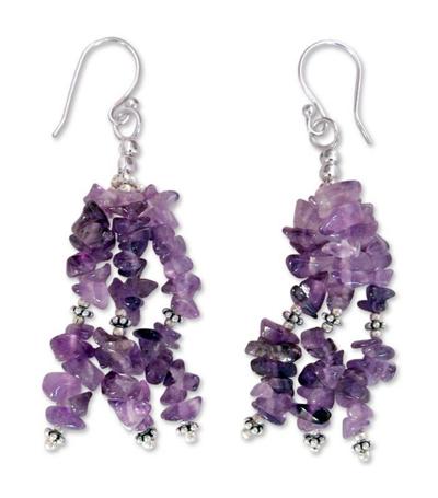 Amethyst waterfall earrings, 'Rejoice' - Indian Amethyst Earrings Hand Made with Sterling Silver