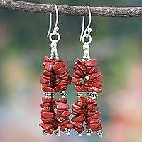 Jasper waterfall earrings, 'Rejoice' - Unique Sterling Silver and Jasper Earrings