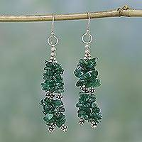 Aventurine waterfall earrings, 'Rejoice' - Aventurine Beaded Waterfall Earrings