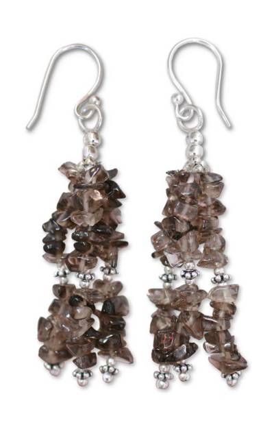 Smoky quartz waterfall earrings