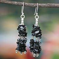 Obsidian waterfall earrings, 'Rejoice' - Indian Obsidian Earrings Hand Made with Sterling Silver