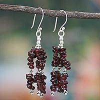 Garnet waterfall earrings, 'Rejoice' - Handcrafted Sterling Silver Beaded Garnet Earrings