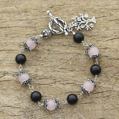 Rose quartz and onyx beaded bracelet, 'Lucky Money Tree' - Sterling Silver Beaded Onyx and Rose Quartz Bracelet