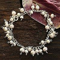 Pearl charm bracelet, 'New Empress' - Handcrafted Fair Trade Sterling and Pearl Charm Bracelet