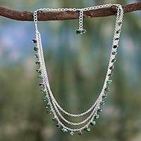 Malachite waterfall necklace, 'Talakona Majesty' - Sterling Silver and Malachite Waterfall Necklace