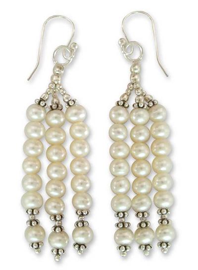 Pearl waterfall earrings, 'Goddess of Purity' - Pearl Waterfall Earrings