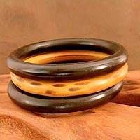 Wood bangle bracelets, 'Exotic Delhi' (set of 3) - Natural Wood Bangle Bracelets (Set of 3)