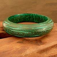 Wood bangle bracelet, 'Empress' - Wood Bangle Bracelet