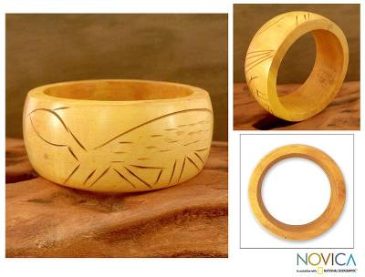 Wood bangle bracelet, 'Tribal Turtle' - Wood bangle bracelet