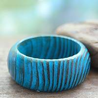 Wood bangle bracelet, 'Ocean Empress' - Unique Indian Mango Wood Bracelet