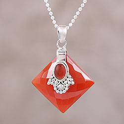Carnelian pendant necklace, 'Kolkata Scarlet' - Carnelian Necklace from Indian jewellery Collection