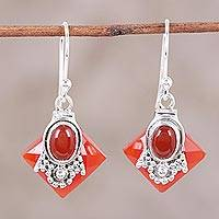 Carnelian dangle earrings, 'Kolkata Scarlet' - Carnelian Earrings from Indian jewellery Collection