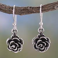 Sterling silver flower earrings, 'Rose Moon' - Floral Jewelry Sterling Silver Earrings from India