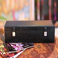 Leather jewelry box, 'Floral Jungle' - Leather jewelry box