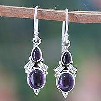 Amethyst dangle earrings, 'Mumbai Lilac' - Sterling Silver and  Amethyst Earrings from India