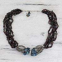 Garnet and labradorite beaded necklace, 'Exotic Exuberance'