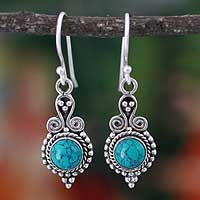 Sterling silver dangle earrings, 'Love Forever' - Blue Stone Earrings in Sterling Silver from India Jewelry