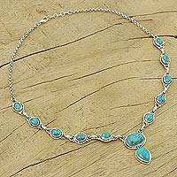 Sterling silver Y-necklace, 'Sky Dream' - Sterling Silver Y-necklace from Blue Stone Jewelry
