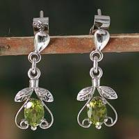 Peridot dangle earrings, 'Indian Promise' - Peridot dangle earrings