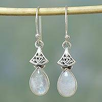 Moonstone dangle earrings, 'Misty Morn' - Moonstone Earrings in Sterling Silver from India
