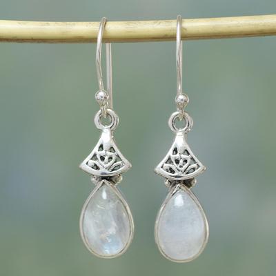 Moonstone dangle earrings, 'Misty Morn' - Moonstone Earrings in Sterling Silver from India