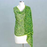 Silk shawl, 'Chennai Forest' - Silk shawl