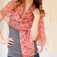 Silk shawl, 'Chennai Rose' - Hand Crafted Indian Floral Silk Patterned Pink Shawl