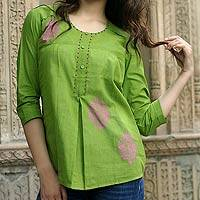 Cotton blouse, 'Gujrati Green' - India Embellished Cotton Tunic Blouse