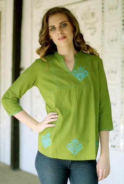 Cotton blouse, 'Goa Green' - Collectible Women's Cotton Embroidered Blouse Top