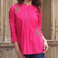 Cotton blouse, 'Bengali Rose' - Fair Trade Cotton Embroidered Blouse Top