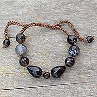 Smoky quartz and onyx beaded bracelet, 'Indian Night' - Smoky quartz and onyx beaded bracelet
