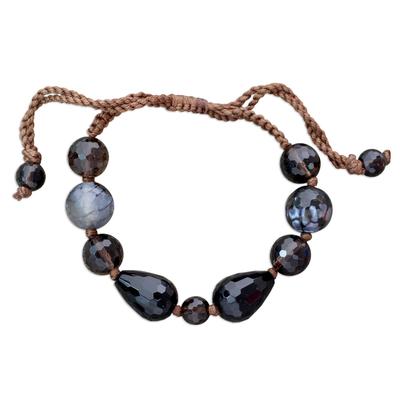 Smoky quartz and onyx beaded bracelet