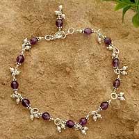 Amethyst anklet, 'Purple Splendor' - Amethyst anklet