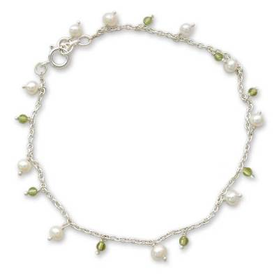 Pearl and Peridot Indian Jewelry Anklet