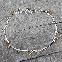 Citrine and peridot anklet, 'Kerala Dancer' - India Ankle Jewelry Sterling Silver and Citrine Anklet
