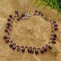 Garnet beaded anklet,