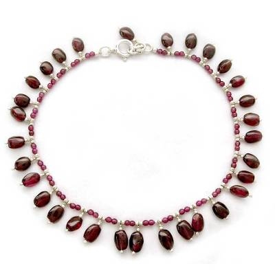 Ankle Jewelry from India with Natural Garnet