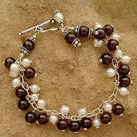 Pearl and garnet cluster bracelet, 'Delhi Glamour' - Garnet and Pearl Bracelet