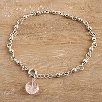 Rose quartz anklet, 'Peaceful Love' - Artisan Crafted Indian Jewelry Collection Rose Quartz Anklet