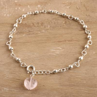 Rose quartz anklet, 'Peaceful Love' - Artisan Crafted Indian jewellery Collection Rose Quartz Ankl