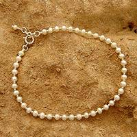 Pearl anklet, 'Moon Dew' - Elegant Handmade Sterling Silver and Pearls Anklet
